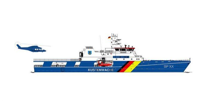 Vakarų Baltijos laivų statykla stato dalinai įrengtus patrulinių laivų korpusus Vokietijos rinkai