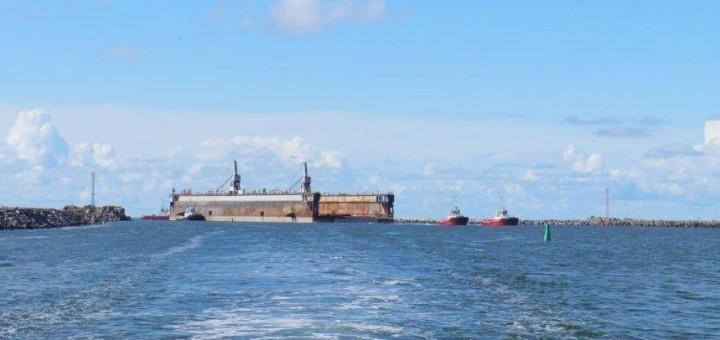 Didžiausias Baltijos šalyse dokas, pagaliau pasiekė kelionės tikslą